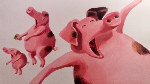 Die Schweine gähnen um08:03!